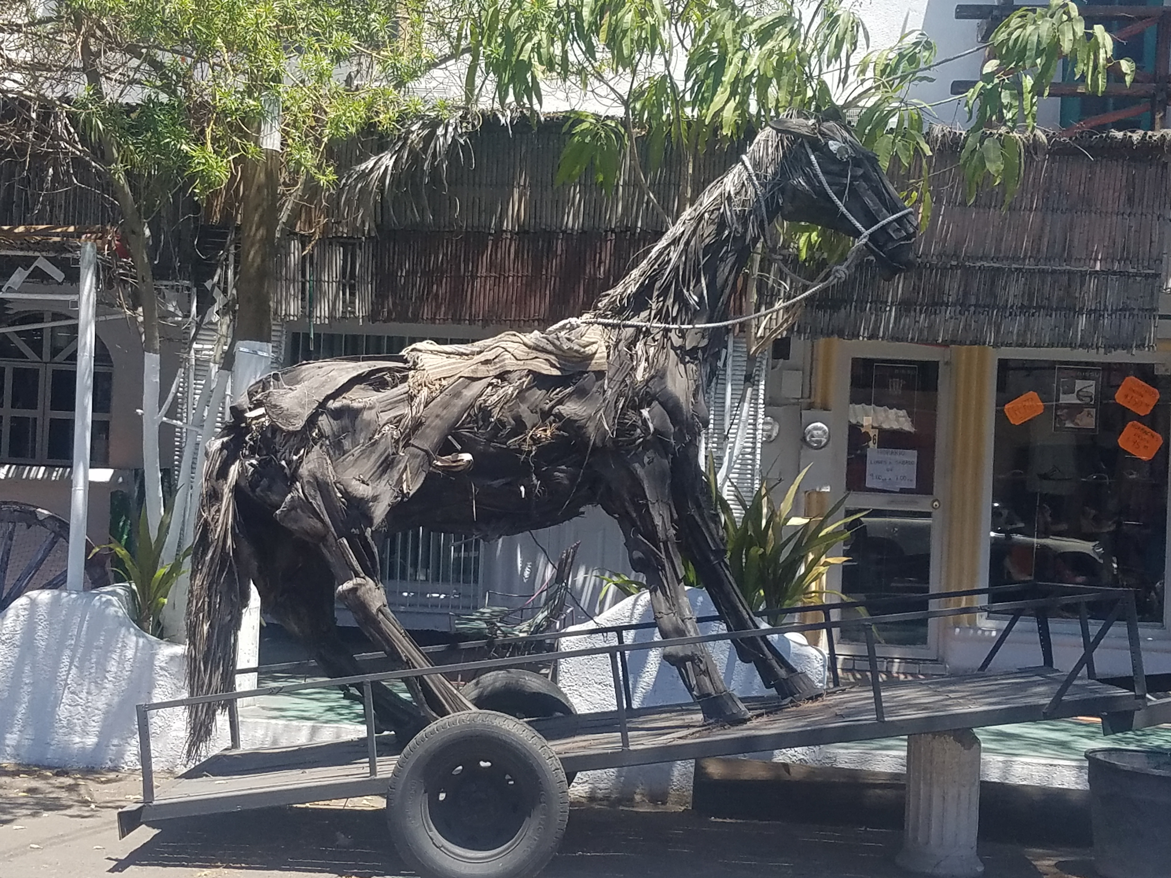 Horse made from palm fronds
